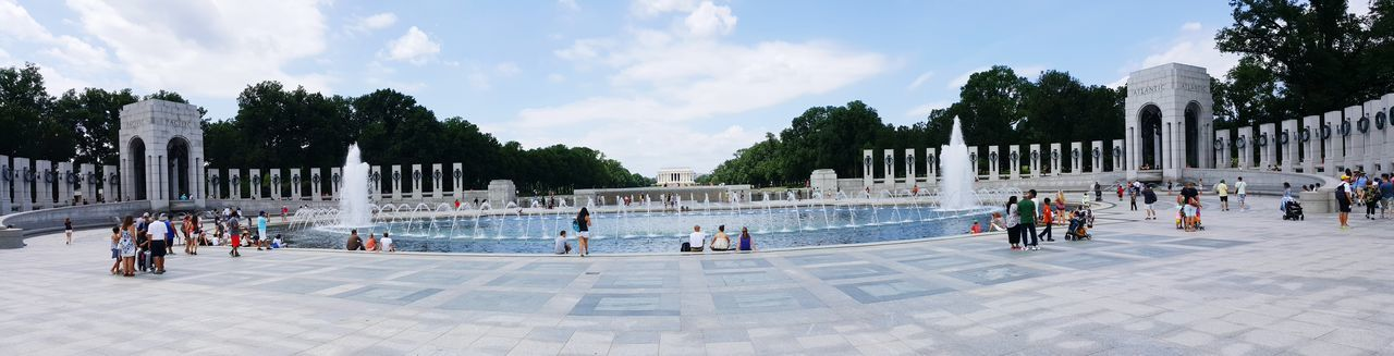 Wide Angle Wideangle Panorama Panoramic Monument Memorial Architecture Historic City Tree Sport Sky Cloud - Sky Fountain Civilization War Memorial Triumphal Arch Spraying Building National Monument Reflecting Pool Visiting