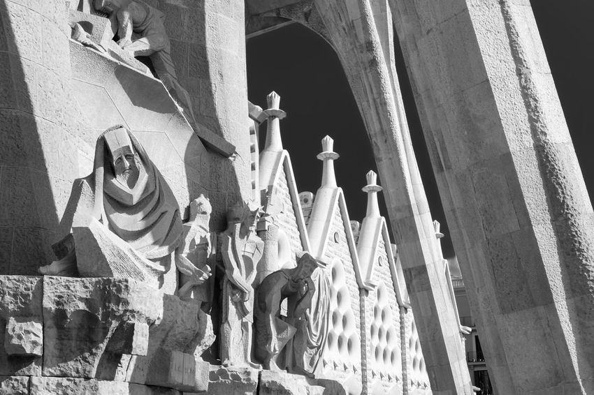 Architecture Art Black And White Building Church City Close-up Day Eaurope Gaudi No People Outdoors Sculpture SPAIN Statue Sunlight Sunny The Architect - 2016 EyeEm Awards The Sagrada Familia Tourism Travel