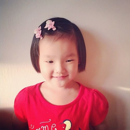 Child Kid Cute Chinese Little Girl Asian  Happy Face Growing Up Butterfly Ribbon Hairband Hairstyle