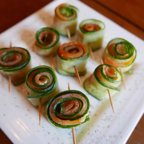 cucumber and smoked salmon roll with dill Cucumber Roll Smoked Salmon  Food At Table The Foodie - 2015 EyeEm Awards Fish