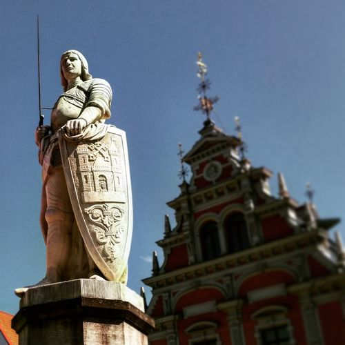 Guardian of the House of Blackheads in Riga Old Town. Check This Out World Travel Riga Latvia Lithuania Exploring Likeforlike Like