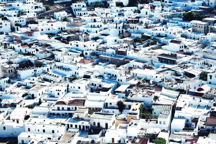 High Angle View Building Exterior Crowded Architecture Aerial View Town City Day Rhodes Greece
