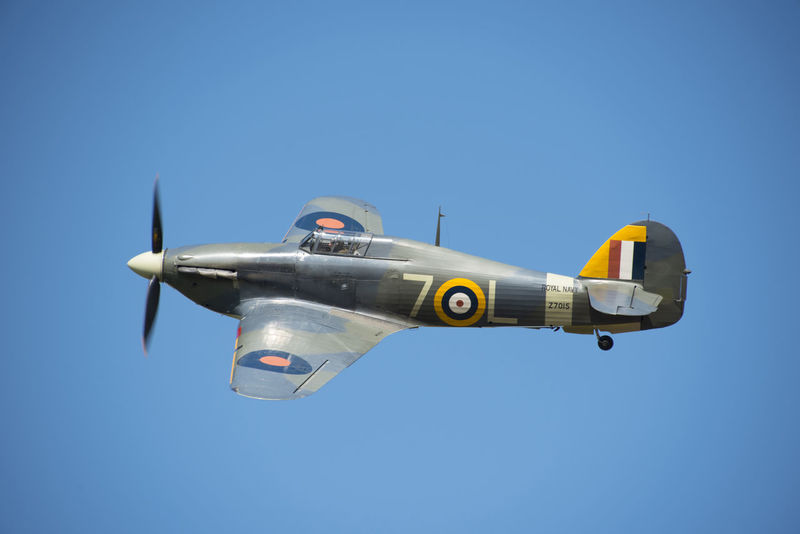 Hawker Hurricane at the Battle of Britain air show at Duxford Duxford Imperial War Museum Event Flying High Show Above Air Vehicle Airplane Airshow Battle Of Britain Blue Blue Sky Clear Sky Fighter Fighter Plane Flying Hawker Hurricane Hurricane Outdoors Propeller Side View Sky Ww2