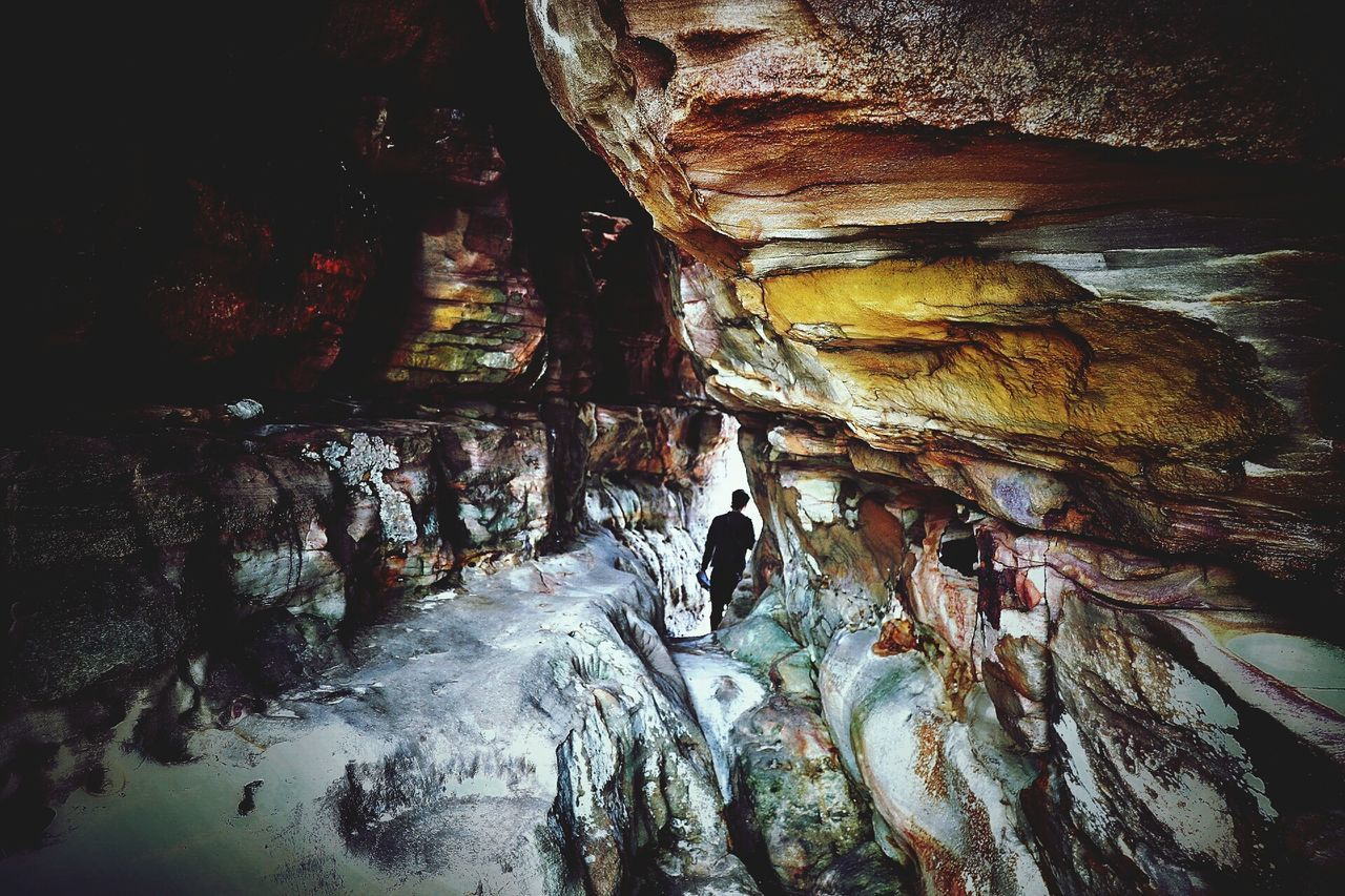 rock formation, rock - object, geology, cave, nature, indoors, no people, beauty in nature, waterfall, day