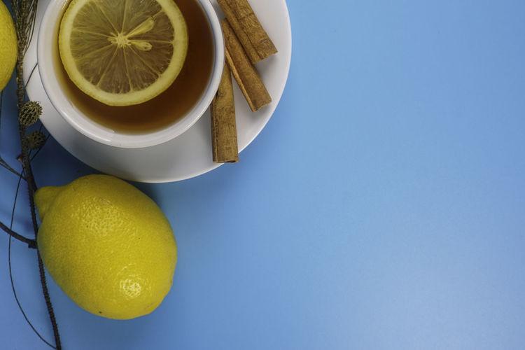 High angle view of tea on table