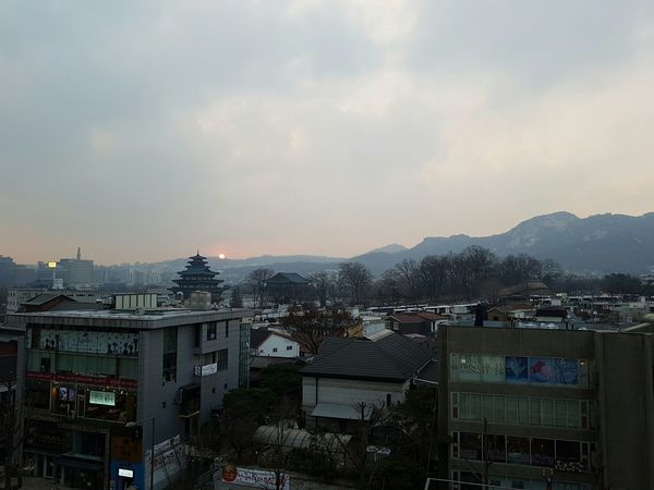 City Fog No People Sky Outdoors Sunset Seoul Bukchon Hanok Village Bukchon Samcheong-dong Korea City Urban Jongno View Viewpoint View From Above Happy New Year Last Sunset last sunset of the year from bukchon hanok village in seoul south korea Hanok Village