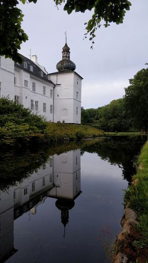 mirror, mirror on the wall .... Beauty Poetic Idyllic Idyllisk Jutland Denmark Danmark Vejle Art Photography Colour Engelsholm Castle Moat Perfect Old Photo Tree City Lake Tree Area Tower