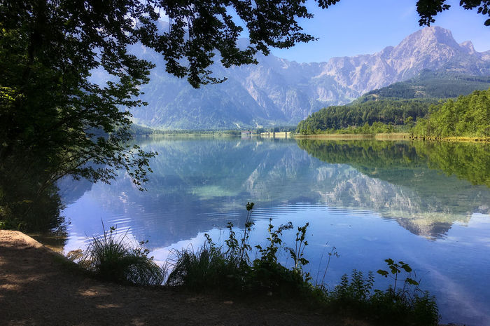 Almsee Oberösterreich Beauty In Nature Blue Day Forest Growth Idyllic Lake Landscape Mountain Mountain Range Nature No People Outdoors Plant Reflection Scenics Sky Tranquil Scene Tranquility Tree Water