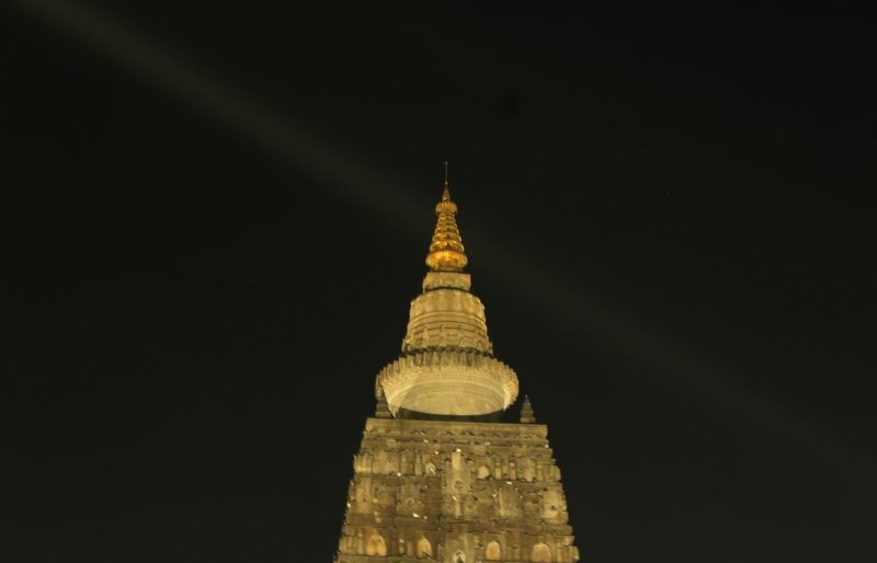 Mahabodhi temple top Travel Destinations Building Exterior Building Low Angle View Tourism No People Travel Tall - High Sky Built Structure The Past History High Section Nature Copy Space Architecture Night Tower Spire  Mahabodhi Temple