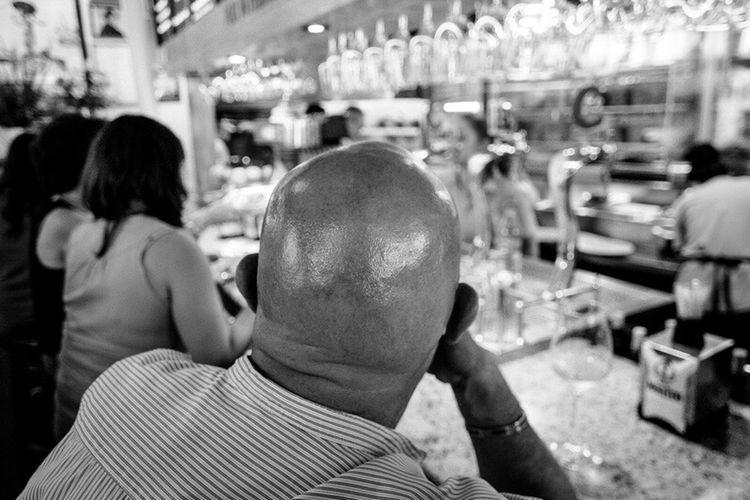 Bald B&w On The Way Black&white Streetphoto Streetphotography Street Photography Streetphoto_bw B&w Street Photography Black And White Black & White Independent Eye SPAIN (null)People Man Tavern  Bar