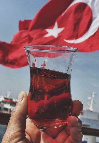 Türk çayı Tea Tradition Sky Red Human Hand Human Body Part Drink Drinking Glass One Person Holding Day