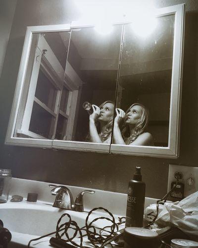 Mirror Blackandwhite Drinking Beer
