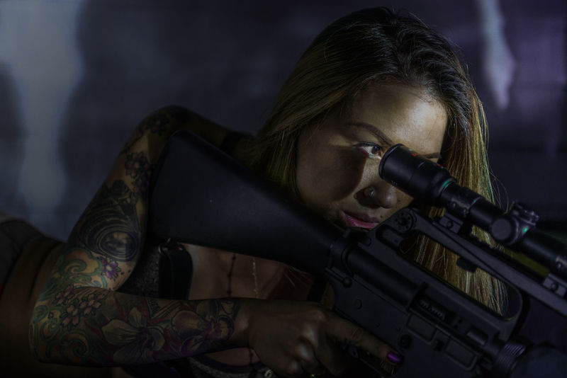 Ar15 Army Combat Girl Girls Gun Guns Hot Longhair Lowkey  Lowlight Lowlightphotography Marine Corps Marines Rifle Scope Secret Agent Shadow Shadows Sniper Tactical Tattoo Tattoo ❤ Tattooed Tattoos