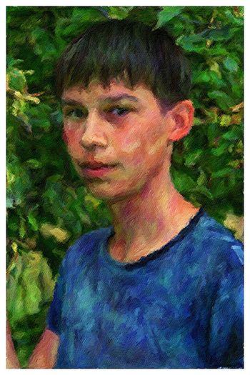 Portrait von Timon . 2015 Art Painting Boy Forest Nature Colours Summer Son