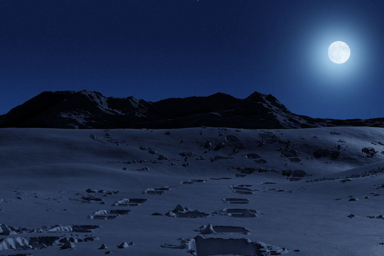 Scenic view of snowcapped mountains against clear sky at night
