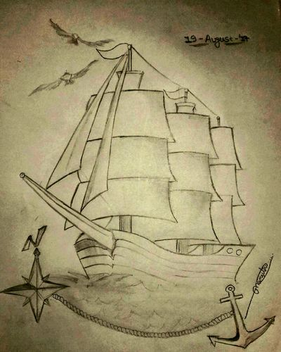 Paper Sketch Day Outdoors Water Sky Mobile Photography Sketch_daily SketchUp Sketchbook Sketchaday Sketching ☺ Sketch Sketchy Ships⚓️⛵️🚢 EyeEm Best Shots EyeEmBestPics Sketchoftheday  Travel Destinations Junagadh_Gujrat_India