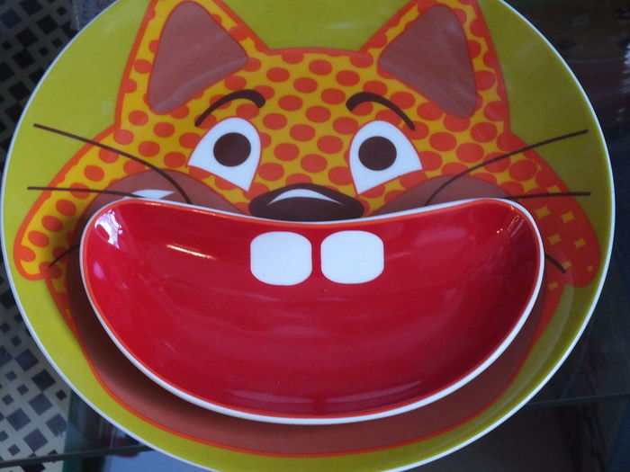 Art Cartoon Cat Close-up No People Plate Vintage Vintage Kitchen Gadgets Vintage Kitchenware