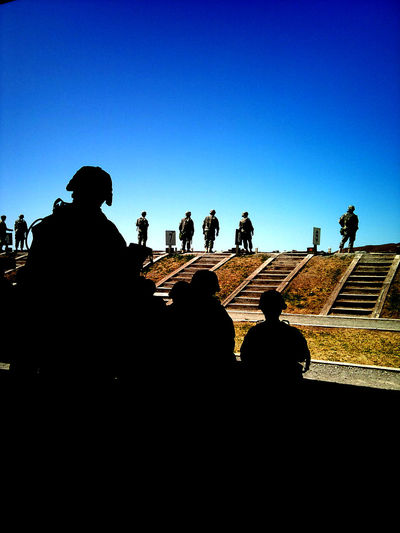 Army ArmyStrong Army Training  Silhouette Blue Clear Sky Low Angle View Copy Space Architecture Outdoors Day Outline Stone Material