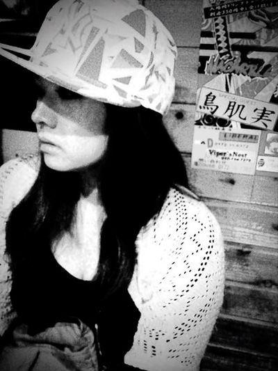 Youngandbeautiful Northern Bar Iphonegraphy Cap Monochrome Blackandwhite Drunknight  Modelgram Modelgirl Beautifulgirl W/yuka Casual Clothing Real People One Person Young Adult Portrait Young Women Indoors  EyeEm Ready