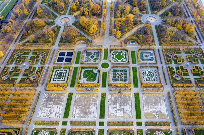 Großer Garten, Hannover from above Baroque Garden Geometric Shapes Garden Garden Structures High Angle View Autumn colors Trees Plants And Flowers Flower Patterns Day Historic Garden Multi Colored