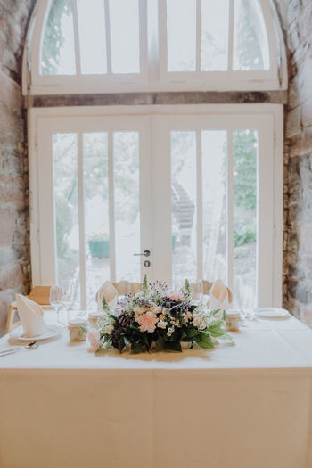 Centerpiece on table by window