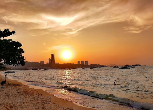 Sunset Beach City Sand Thailand🇹🇭 Beauty Architecture Beauty In Nature Travel Destinations Eye4photography  Urban Skyline Outdoors Water Tranquility Sea Scenics 2017 Trending Now Nature Rear View EyeEm Selects Be. Ready. Horizon Over Water Beautifull Nature