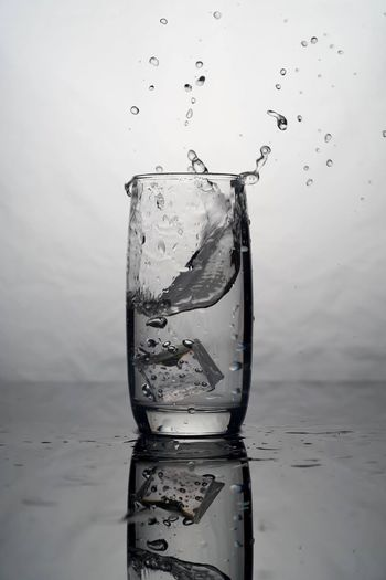 H2O Drink Water Drinking Glass Refreshment Drop Wet Ice Cold Temperature Reflection Product Photography Studio Photography Studio Light Studio Shot Food And Drink No People Alcohol Freshness Splashing Motion Close-up Drinking Water White Background Food