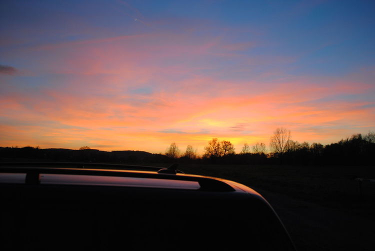 Beauty In Nature Car Cloud - Sky Nature Orange Color Silhouette Sky Sunset EyeEmNewHere