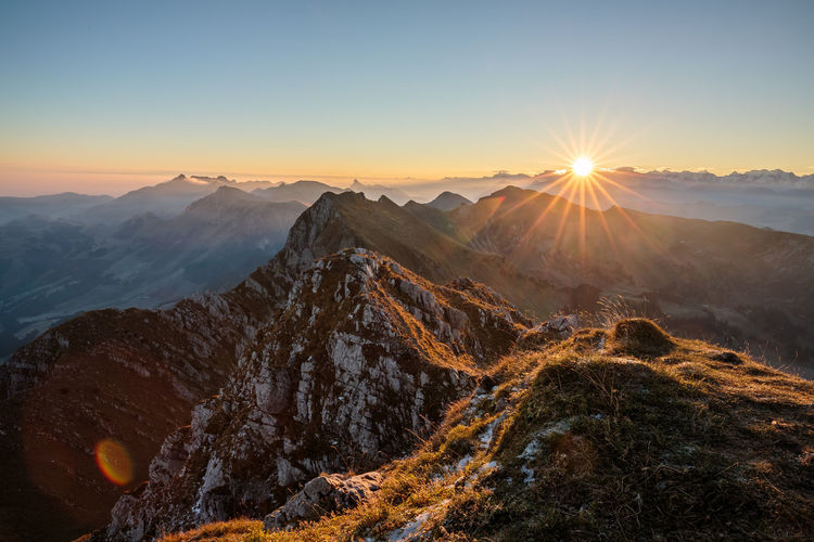 Sunrise on Kaiseregg Alps Alps Switzerland Hiking Landscape Morning Mountain Mountain Peak Nature Outdoors Sunrise Switzerland My Year My View