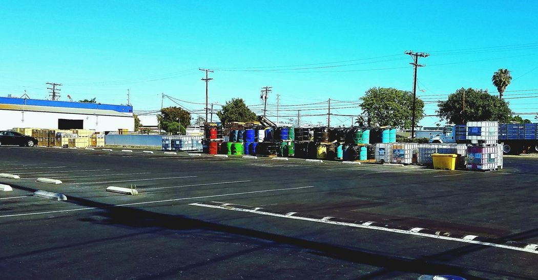 Manufacturing, Production; Construction Trash Is Treasured Commercial Photography Asthetically Pleasing Symetrical Blacktop Art Sky Lightbluesky Organization Barrels Revenue Costamesa Monrovia 17thstreet Placentia