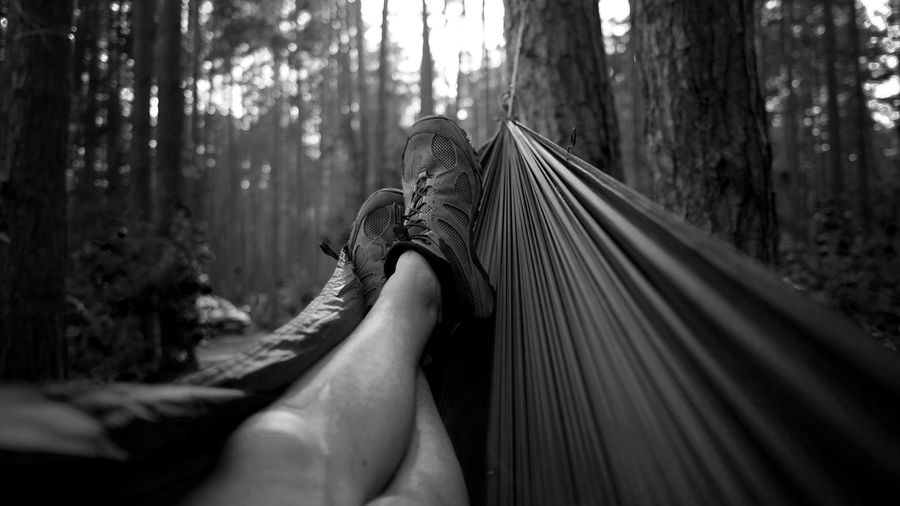 Low section of person relaxing on hammock at forest
