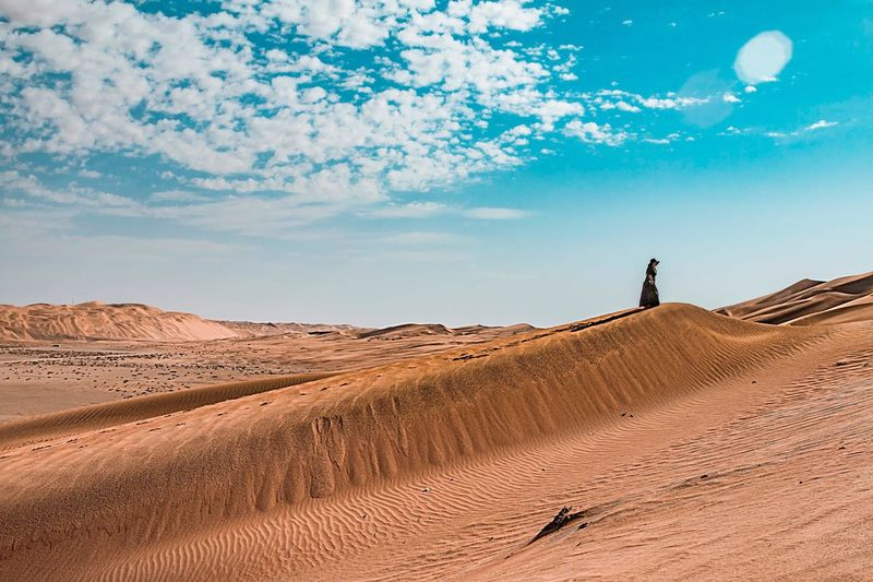 Liwa dune climbing Sand Desert Nature Landscape Arid Climate Sand Dune Sky Real People One Person Outdoors Beauty In Nature Tranquil Scene Remote Scenics Day Physical Geography Standing Vacations Tranquility Travel Destinations Abu Dhabi Liwa Desert UAE Lost In The Landscape Lost In The Landscape Perspectives On Nature The Traveler - 2018 EyeEm Awards