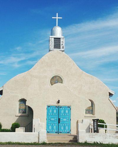 Church Blue Sky Blue Door Religion Newmexico Jemez