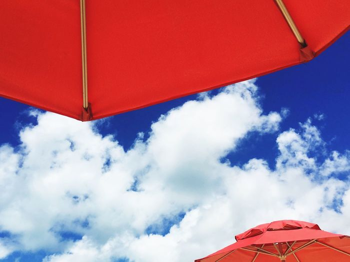Low Angle View Of Sunshade Against Sky
