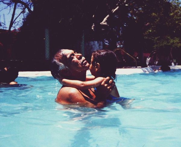Swimming Pool Water Happiness Real People Vacations Childhood Cuernavaca Atotonilco Morelos Mexico Fatherhood Moments Father And Daughter Father Paolaklug, Alberca 1980s Afromexican EyeEmNewHere