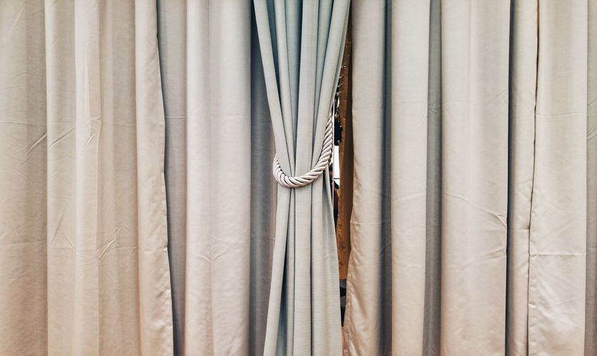 Detail shot of curtained window