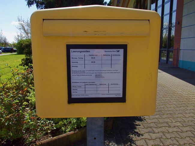 Close-up Communication Day German Mailbox No People Outdoors Public Mailbox Snail Mail Yellow