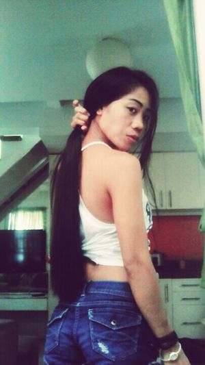 Serious Look Lol Long Black Hair Casual Clothing Looking At You Looking At Me Simple Beauty Sexy♡ For You ❤ My Love ♡