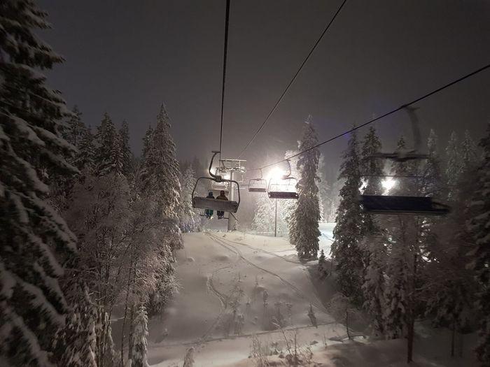 Skiing Winter darkness and light Skiing Winter Ski Lift Night Skiing