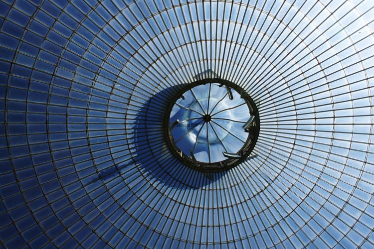 Low Angle View Built Structure Full Frame Pattern Backgrounds Building Exterior Close-up Sky Indoors  Day No People Glass Windows Glasshouse Glass Roof Glass Ceiling Glass Shadow Beauty In Nature City Concentric Architecture