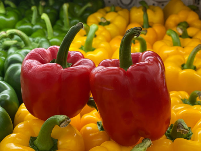 Close-up of yellow bell peppers in market