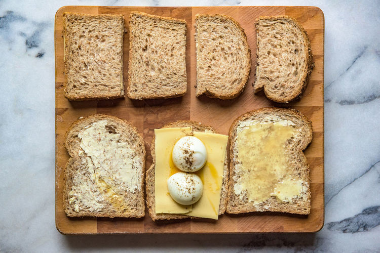 Directly Above View Of Fresh Breakfast On Cutting Board
