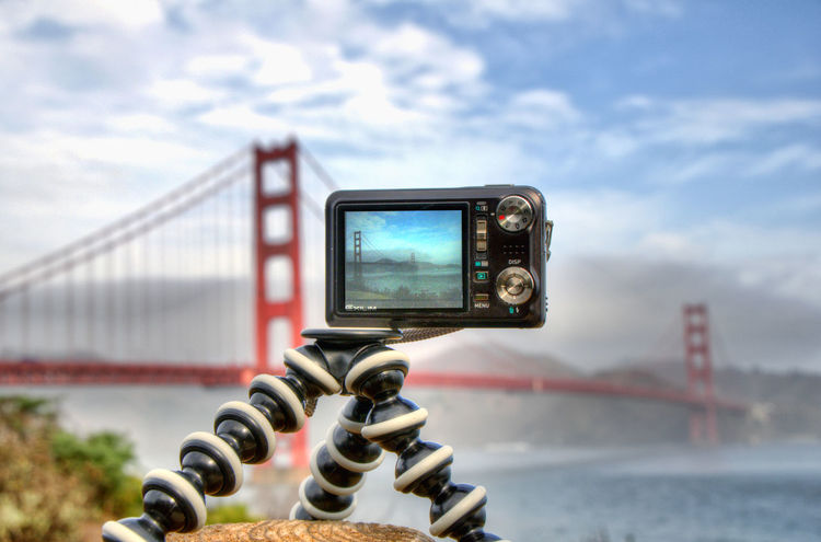 As seen through a camera - Golden Gate Bridge - San Francisco, California. Bridge - Man Made Structure Camera Camera - Photographic Equipment Cloud - Sky Communication Connection Convenience Engineering Famous Place Focus On Foreground Golden Gate Bridge International Landmark Memories Old-fashioned Outdoors Photographing Photography Themes Portability San Francisco Sea Smart Phone Technology Tourism Travel Destinations Wireless Technology