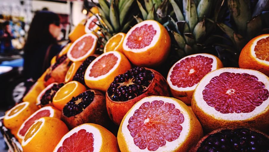 High Angle View Of Blood Oranges For Sale In Shop