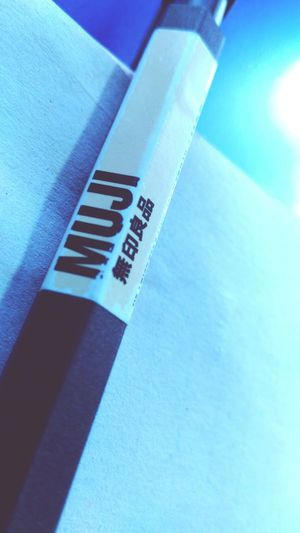 Blue Text Close-up High Angle View No People Indoors  Day Muji Love Pen Close Up