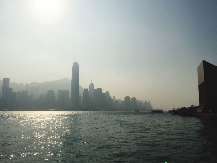 Hong Kong Victoria Harbour Avenue Of Stars Water Bay Boats Sun View