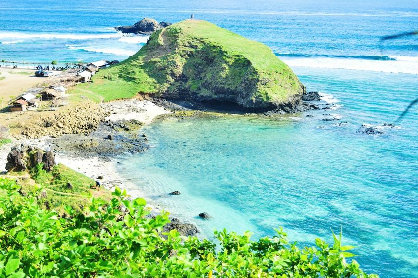 Sea Water Nature Beauty In Nature High Angle View Blue Day Beach Scenics Outdoors Tranquil Scene Green Color Tranquility No People Grass Horizon Over Water Sky at Seger Beach Lombok Segerbeach Lombok-Indonesia Perspectives On Nature