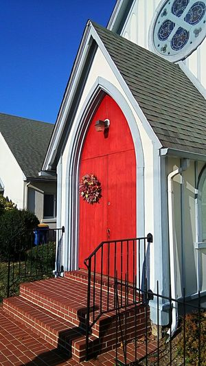 Red Built Structure Architecture Building Exterior Church Entrance Church Exterior Red Door Entrance Door Bridge - Man Made Structure Historical Building