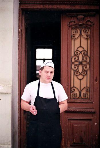 Analogue Photography Break Chef Cigarettebreak Coocking Doorway Film Kitchen Looking At Camera One Person Portrait Restaurant