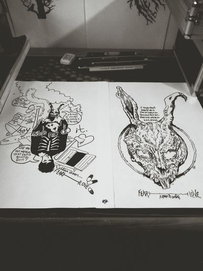 Donnie Darko Frank Black And White Drawings